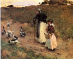 old woman with child and goose by willard leroy metcalf acrylic paintings