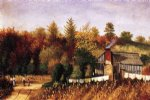 car posters - autumn scene in north carolina with cabin wash line and cornfield by william aiken walker