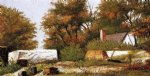 car posters - autumn scene in the woods of north carolina with house and stacks of wood by william aiken walker