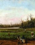 cottonfield with bayou steamboat road cabin and fieldhands by william aiken walker painting
