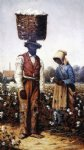 william aiken walker negro couple in cotton field woman with yellow bonnet painting