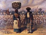 william aiken walker negro man and woman in cotton field with baskets of cotton painting