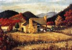 car posters - north carolina homestead with mountains and field by william aiken walker