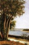 river tree city on horizon by william aiken walker painting