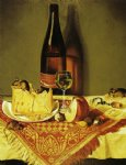 still life with cheese bottle of wine and mouse by william aiken walker painting