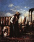 white man with cotton bales on docks by william aiken walker painting