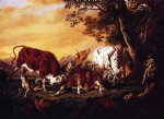 cat famous paintings - wolves attacking cattle by william aiken walker