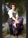 william bouguereau art - at the edge of the brook by william bouguereau