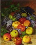 william mason brown watercolor paintings - apples and lilacs by william mason brown