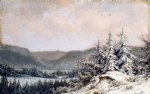william mason brown watercolor paintings - early snow by william mason brown