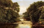 william mason brown watercolor paintings - fishing by a river by william mason brown
