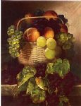 william mason brown still life with grapes. plums and peaches in a basket painting