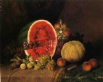 william mason brown still life with watermelon grapes peaches plums and cantaloupe prints