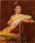 william merritt chase a girl in yellow painting