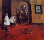 children watercolor paintings - children playing parlor croquet sketch by william merritt chase