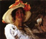william merritt chase portrait of clara stephens wearing a hat with an orange ribbon painting 22675