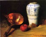 still liife with china vase copper pot an apple and a bunch of grapes by william merritt chase art