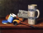 william michael harnett still life with blue tobacco box painting 22483