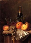 william michael harnett still life with fruit champagne bottle and newspaper painting 22488