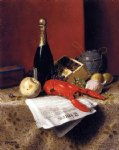 william michael harnett still life with lobster fruit champagne and newspaper painting 22497