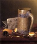 william michael harnett still life with mug pipe and new york herald painting 22498