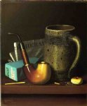 william michael harnett still life with pipe mug and newspaper painting 22499
