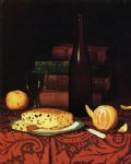 wine print - still life with raisin cake fruit and wine by william michael harnett