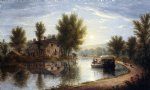 canal scene susquehanna river by william rickarby miller painting