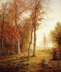 william trost richards gathering leaves painting