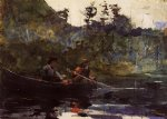 winslow homer canoeing in the adirondacks painting