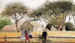 children art - children on a fence by winslow homer