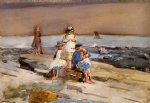 beach art - children on the beach by winslow homer