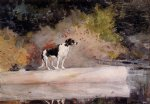 winslow homer dog on a log art