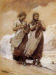 girl art - fishergirls on shore tynemouth by winslow homer