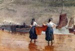 beach art - fishergirls on the beach tynemouth by winslow homer