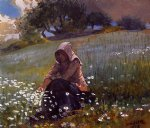 photo prints - girl and daisies by winslow homer