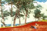 winslow homer house and trees painting-22276