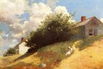 house watercolor paintings - houses on a hill by winslow homer