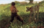 winslow homer the unruly calf painting