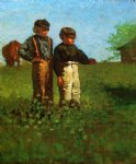 farm watercolor paintings - young farmers by winslow homer