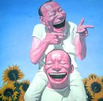 yue minjun sunflowers paintings